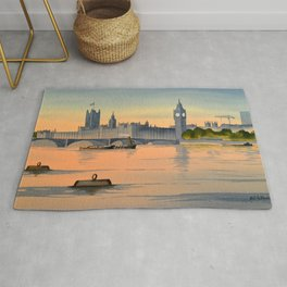 Westminster And Big Ben From The River Thames London Rug