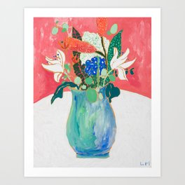 Bouquet of Flowers in Alexandrite Inspired Vase against Salmon Wall Art Print