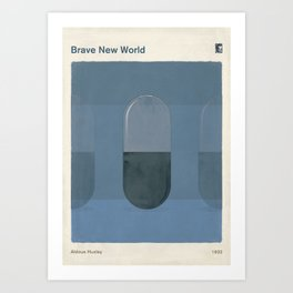 "Aldous Huxley ""Brave New World"" - Minimalist illustration literary design, bookish gift Art Print"