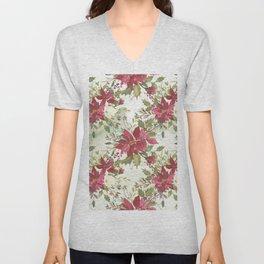 Pink burgundy green watercolor floral holly leaves Unisex V-Neck