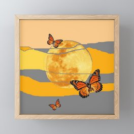 MOON & MONARCH BUTTERFLIES DESERT SKY ABSTRACT ART Framed Mini Art Print