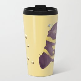 Cherry brown bear imitating a bee on flax background Travel Mug