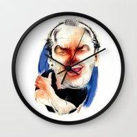 jack nicholson Wall Clocks featuring Jack Nicholson by drawgood