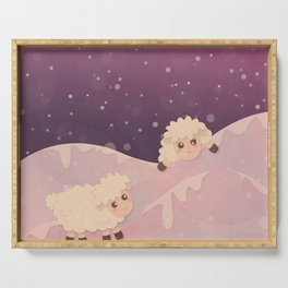 Cartoon Baby Sheep, Red Violet Snowy Bokeh Background Serving Tray