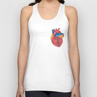 anatomical heart Tank Tops featuring Anatomical Heart by KA Doodle