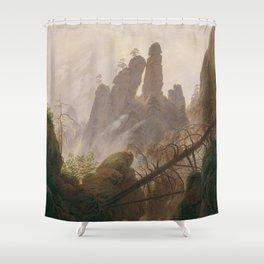 Caspar David Friedrich - Rocky Lanscape in the Elbe Sandstone Mountains Shower Curtain