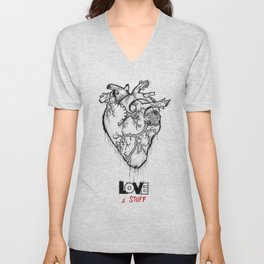 Heart Of Hearts: Outline & Stuff Unisex V-Neck