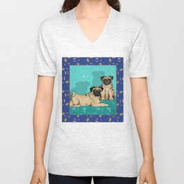 Pugs - by Nina Lyman of Dogs By Nina Unisex V-Neck