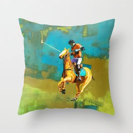 poloplayer abstract turquoise ochre Throw Pillow
