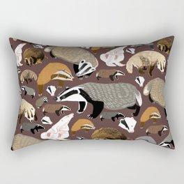 Eurasian badgers pattern Maroon Rectangular Pillow