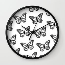 Monarch Butterfly - Black and White Color Palette Wall Clock