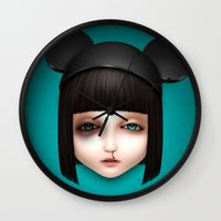 abigail larson Wall Clocks featuring Misfit - Abigail by Raymond Sepulveda