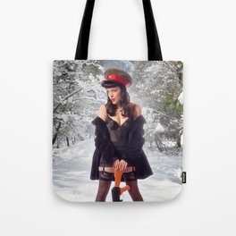 """Sovietsky on Ice"" - The Playful Pinup - Russian Theme Pin-up Girl in Snow by Maxwell H. Johnson Tote Bag"