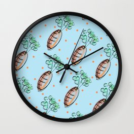Chic Pastel Carrot Pattern Wall Clock