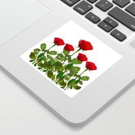 ORIGINAL GARDEN DESIGN OF RED ROSES ON WHITE Sticker