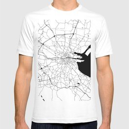 White on Black Dublin Street Map T-shirt