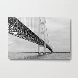 Mackinac Bridge, black and white photography Metal Print