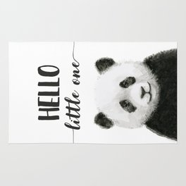 Panda Art Print Baby Animals Hello Little One Nursery Decor Rug