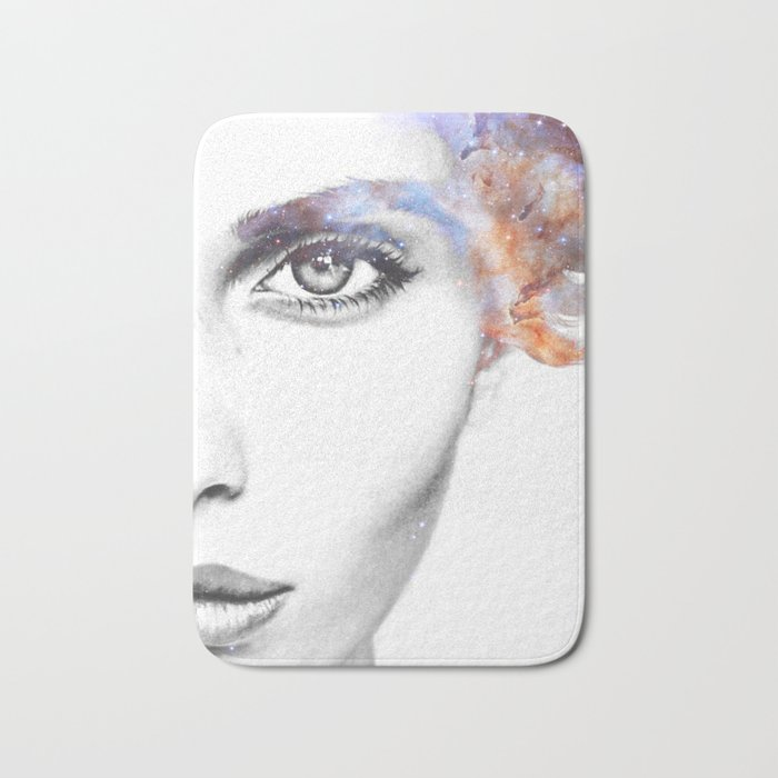 Girl with stars in her hair Bath Mat