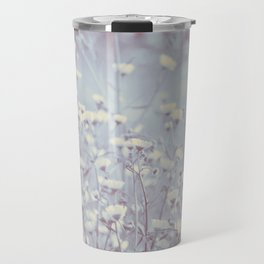 Wild Abandon -- Dreamy Fleabane Daisies in Lavender Gray Mist Travel Mug