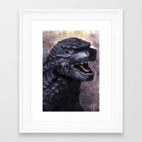 godzilla Framed Art Prints featuring Godzilla by Denda Reloaded