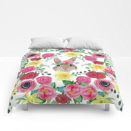 Easter rabbit floral beauty Comforters