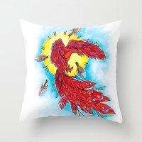 phoenix Throw Pillows featuring Phoenix by missfortunetattoo