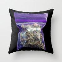cannabis Throw Pillows featuring gram of cannabis by HiddenStash Art