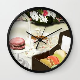Tea Time with French Macarons on Dessert Table Wall Clock