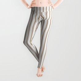 Mattress Ticking Narrow Striped Pattern in Dark Brown and White Leggings