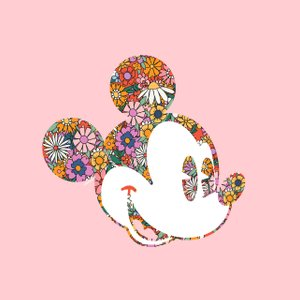 illustration of Mickey Mouse with a floral design on his head