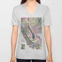 1872 Map of California and San Francisco Unisex V-Neck