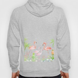 Watercolor flamingo family art print Hoody