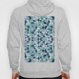 Indigo Blue Watercolor Triangles Pattern Hoody