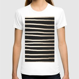Simply Drawn Stripes White Gold Sands on Midnight Black T-shirt