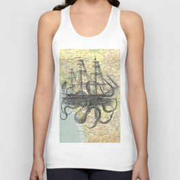 Octopus Attacks Ship on map background Unisex Tank Top
