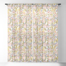 Colorful flower pattern Sheer Curtain