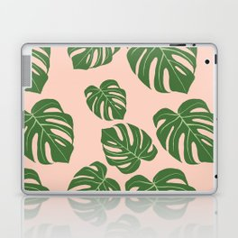 Monstera with pink background Laptop & iPad Skin