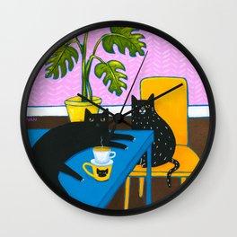 Drip Coffee Cats Wall Clock