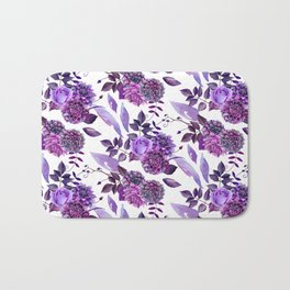 Purple floral pattern. Watercolor lilac flowers illustration. Violet botanical art. Gift for her Bath Mat