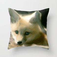 BLUE EYED FOX Throw Pillow