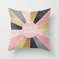 you are my sunshine Throw Pillows featuring You are my sunshine by Elisabeth Fredriksson