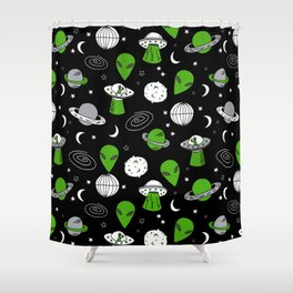 Alien outer space cute aliens french fries rad sodas pattern print black Shower Curtain