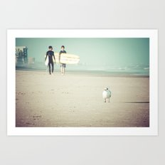 Bird Surfing Art Print