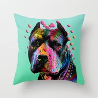 pit bull Throw Pillows featuring pit bull  by mark ashkenazi