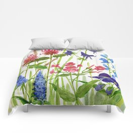 Garden Flowers Botanical Floral Watercolor on Paper Comforters
