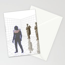 Man in a room with statues and cats_ Stationery Cards