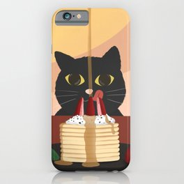 Carb Fiend aka Hungry Cat Eating Pancakes iPhone Case