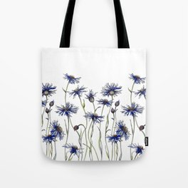Blue Cornflowers, Illustration Tote Bag