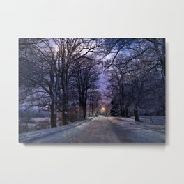 A Walk on a Winter Evening Metal Print